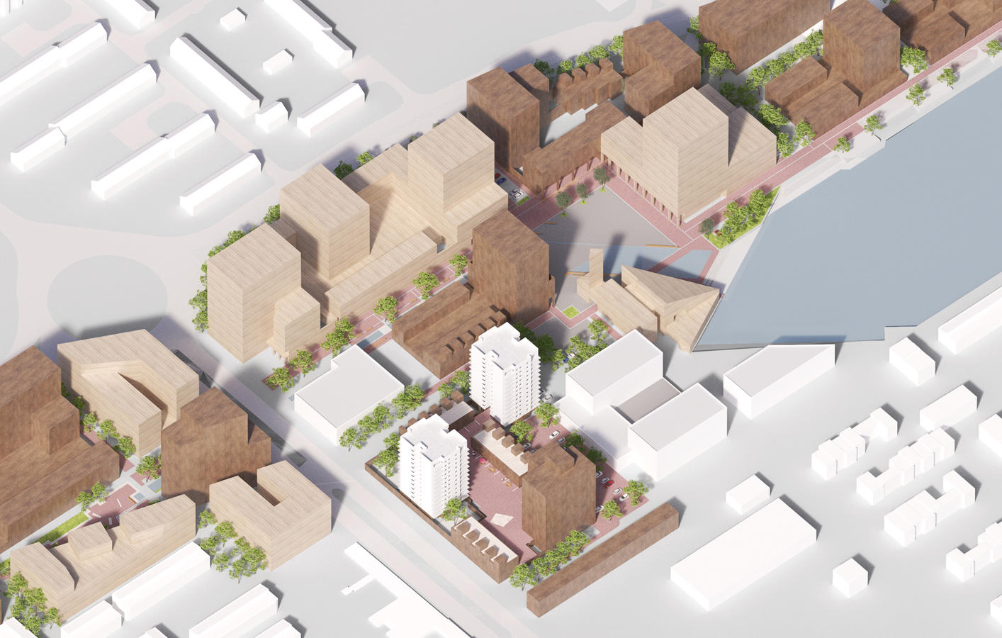 Bird's eye view of the proposed massing for Southmere Village